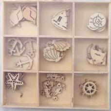 Crafts4U Wooden Embellishments 45 Pieces Sealife 10105