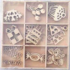 Crafts4U Wooden Embellishments 45 Pieces Party 10106