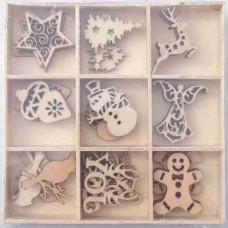 Crafts4U Wooden Embellishments 45 Pieces Xmas #1 10107