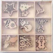 Crafts4U Wooden Embellishments 45 Pieces Xmas #1 10107