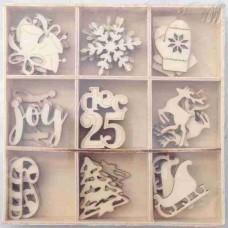 Crafts4U Wooden Embellishments 45 Pieces Xmas #2 10108