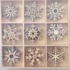 Crafts4U Wooden Embellishments 45 Pieces Snowflakes 10109