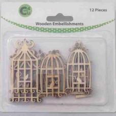 Crafts4U Wooden Embellishments Birdcages 12pk 70064