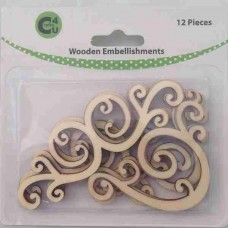 Crafts4U Wooden Embellishments Flourishes 12pk 70065