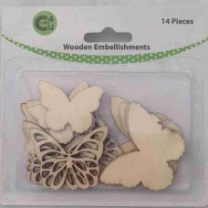 Crafts4U Wooden Embellishments Butterflies 14pk 70066