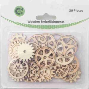 Crafts4U Wooden Embellishments Gears 30pk 70067