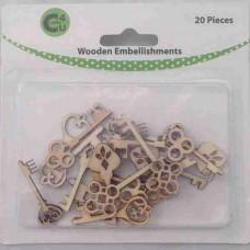 Crafts4U Wooden Embellishments Keys 20pk 70068
