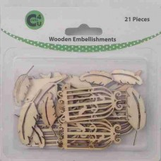 Crafts4U Wooden Embellishments Feathers 21pk 70069
