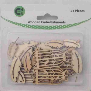 Crafts4U Wooden Embellishments Feathers 21pk 70069