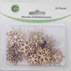 Crafts4U Wooden Embellishments Snowflakes 24pk 70071