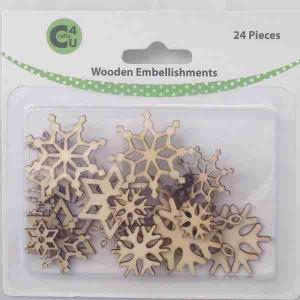 Crafts4U Wooden Embellishments Snowflakes 24pk 70071