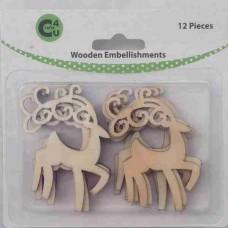 Crafts4U Wooden Embellishments Reindeer 12pk 70073