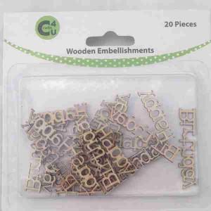 Crafts4U Wooden Embellishments Happy Birthday 20pk 70074