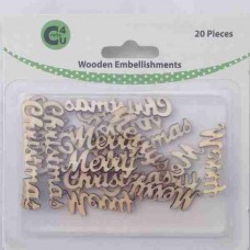 Crafts4U Wooden Embellishments Merry Christmas 20pk 70075