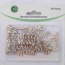 Crafts4U Wooden Embellishments Merry Christmas 20pk 70075