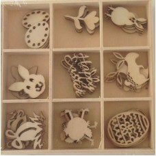 Crafts4U Wooden Embellishments 45 Pieces Easter 10225