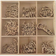Crafts4U Wooden Embellishments 45 Pieces Words 10226