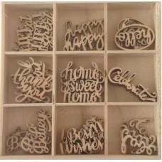 Crafts4U Wooden Embellishments 45 Pieces Words 10226