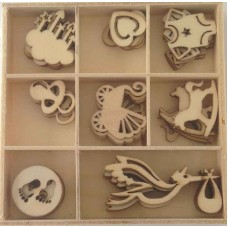Crafts4U Wooden Embellishments 40 Pieces Baby 10227