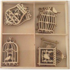 Crafts4U Wooden Embellishments 20 Pieces Birdcages 10228