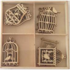 Crafts4U Wooden Embellishments 20 Pieces Birdcages 10228