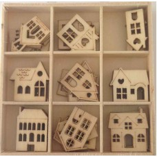 Crafts4U Wooden Embellishments 45 Pieces Houses 10229