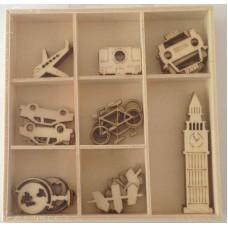 Crafts4U Wooden Embellishments 40 Pieces Travel 10230