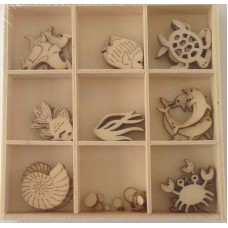 Crafts4U Wooden Embellishments 45 Pieces Sealife 10231
