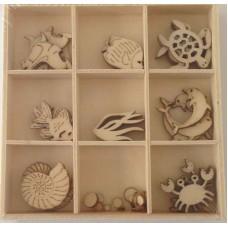 Crafts4U Wooden Embellishments 45 Pieces Sealife 10231