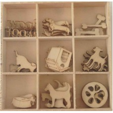 Crafts4U Wooden Embellishments 45 Pieces Dogs 10232