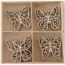 Crafts4U Wooden Embellishments 20 Pieces Butterflies 10233