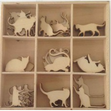 Crafts4U Wooden Embellishments 45 Pieces Cats 10234
