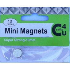 Crafts4U Super Strong Mini Magnets 10mm diameter 1mm thick 10 Pack 10078